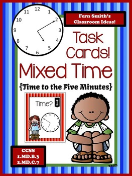 FREE Mixed Time To the Five Minutes Task Cards at Fern Smith's TeachersPayTeachers Store.