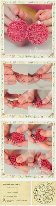Aros o pendientes hechos al crochet - con paso a paso en fotos