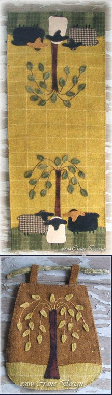 "Sheep Oasis Table Runner 11"" by 27""... plus Willow Gathering Twig Bag"