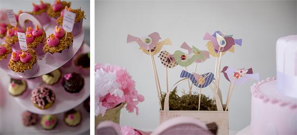 Cupcakes e Detalhes da Decoração de Mesa de Festa Infantil
