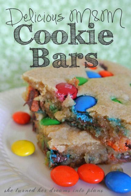 Delicious M&M Cookie Bars