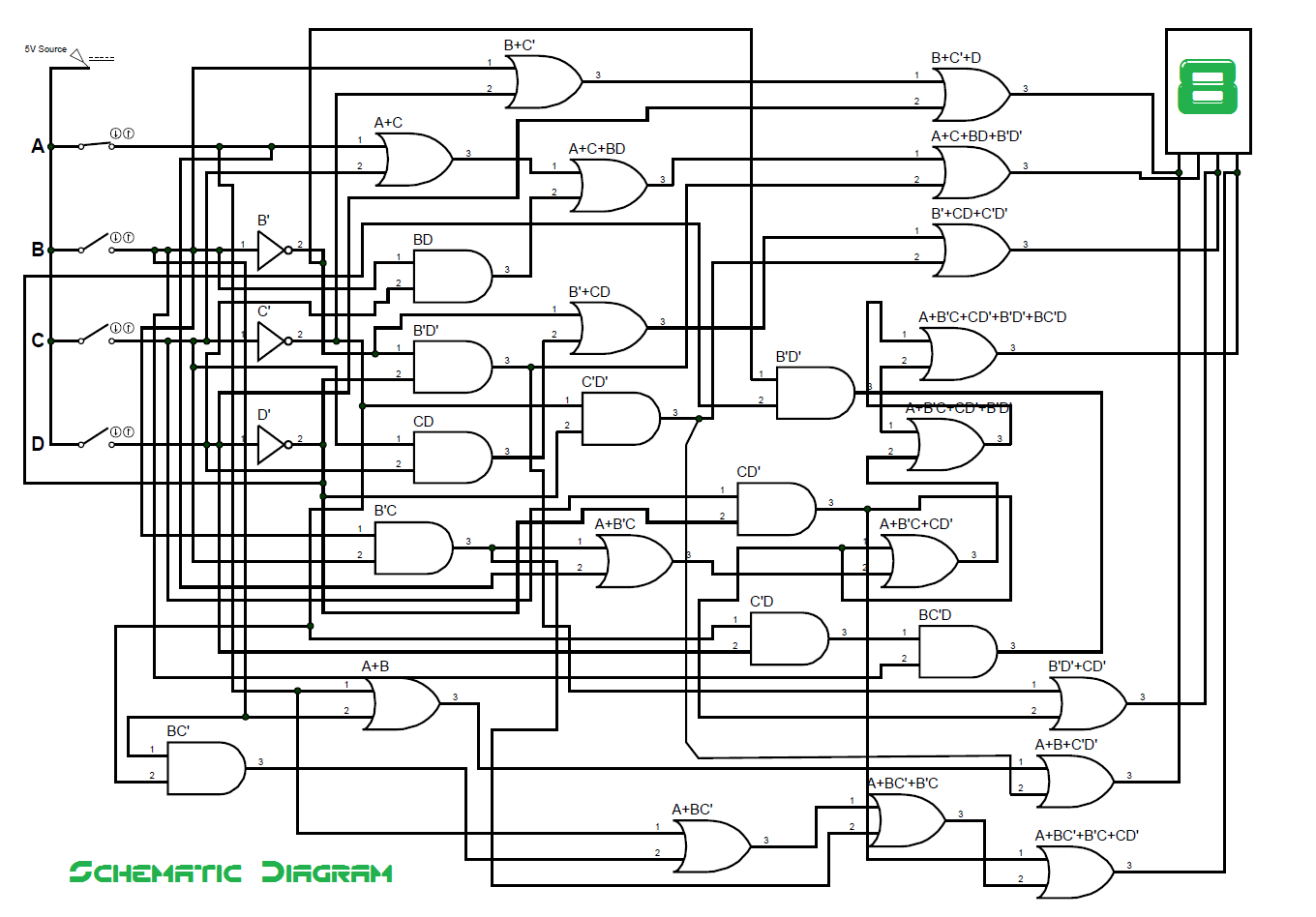 bcd to seven segment decoder ic diagram