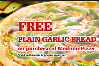 Pizza hut Offer – Free Plain Garlic Bread on purchase of any medium Pizza