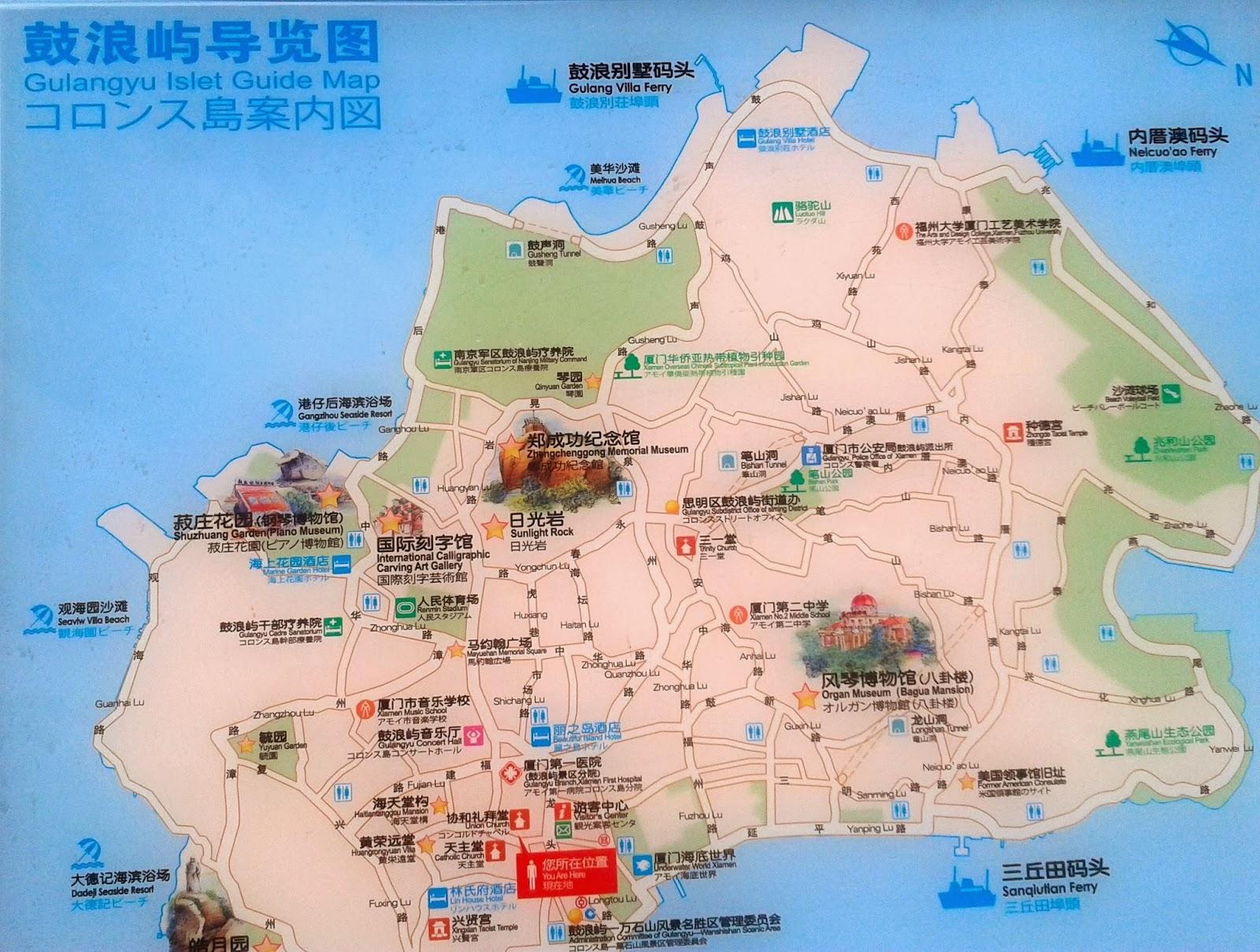 map of gulangyu island