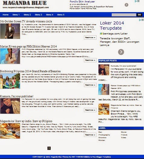 Maganda Blue Responsive Blogger Template