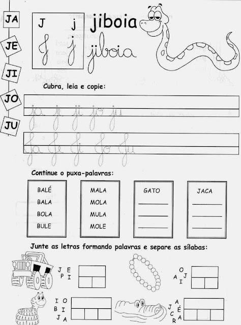 Atividades com a letra J.Ensino Fundamental, Atividades para imprimir, Alfabetização, Letras, 1º ano.