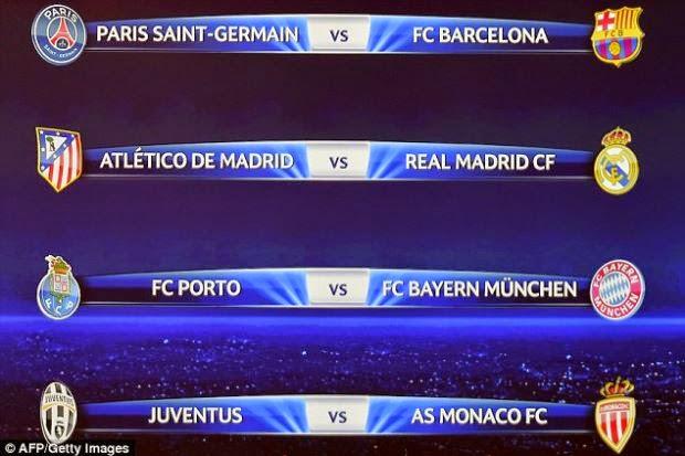 Undian Suku Akhir Liga Juara-Juara Eropah, info, sukan, bola sepak, Liga Juara-Juara Eropah , Piala Eropah , PSG , Bayern Munich , Monaco , Juventus , Real Madrid , Barcelona , Atletico Madrid , Porto