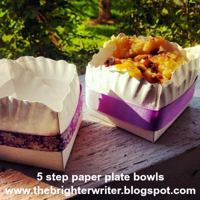 easy tutorial: 5 step paper plate bowls for picnics or camping www.thebrighterwriter.blogspot.com