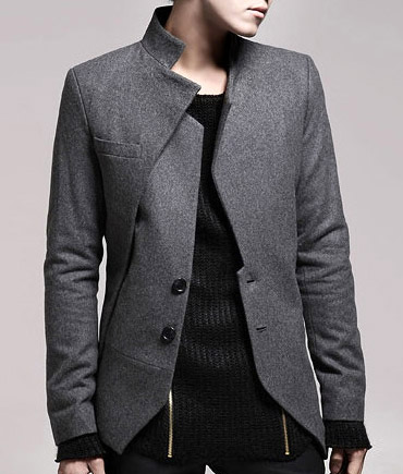 Men Fashion Jacket Casual Grey blazers as you can see
