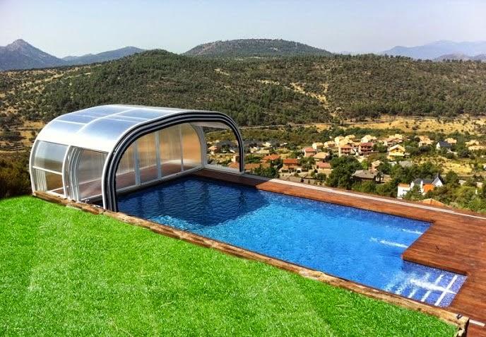 Cerramientos de piscinas en viviendas particulares for Techos para albercas