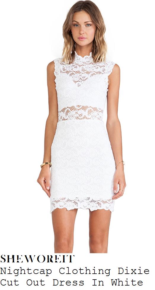 jessica-wright-white-floral-lace-sheer-panel-high-neck-sleeveless-bodycon-mini-dress-ibiza