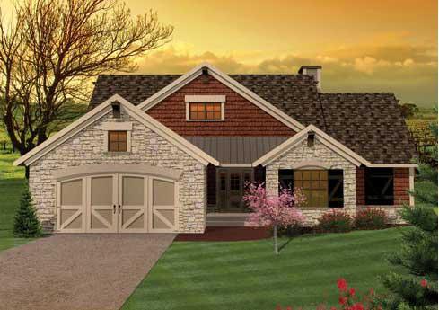 vista frontal de la casa de campo donde podemos apreciar a mano izquierda el acceso a la cochera o garage para dos vehculos - Fachadas De Casas De Campo