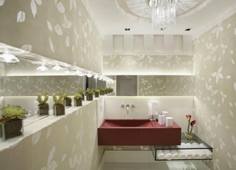 Lavabos Decorados – veja dicas e mais de 50 modelos maravilhosos!  Decor Sal -> Cuba Banheiro Vermelha