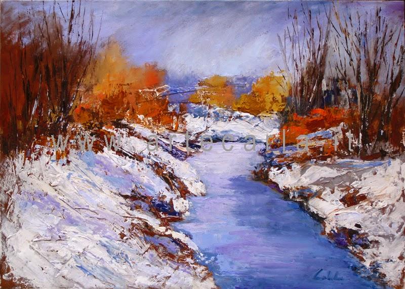 arteCarlaColombo: Opera ad olio (quadro, neve, fiume, acqua ...