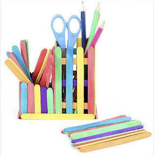ide kreatif cara membuat kerajinan Tempat pensil dari stik es krim