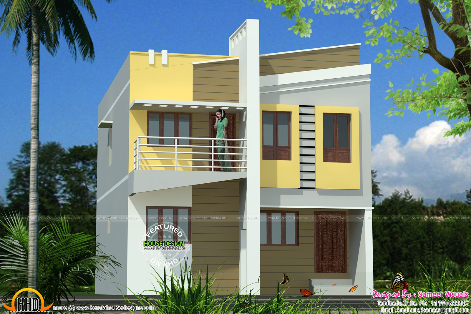Front elevation double floor house for Floor elevation