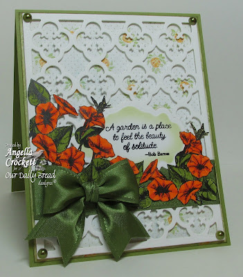 "ODBD ""Quatrefoil Pattern Die"", ""Antique Labels and Border"" Die Set, ""Morning Glory"" Stamp Set, Designer Angie Crockett"