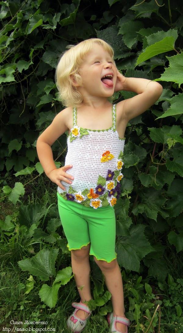 летняя модель детского топика, филейный топ, детская маечка в филейной технике