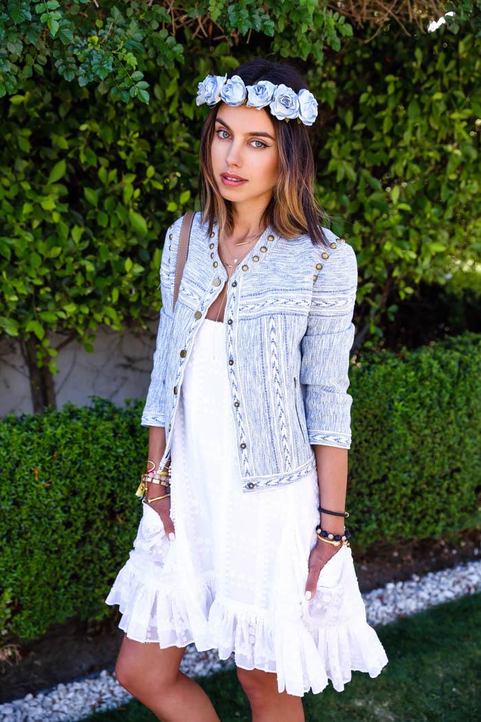 REBECCA MINKOFF Enabel three quarter sleeve tweed jacket, VivaLuxury Coachella look
