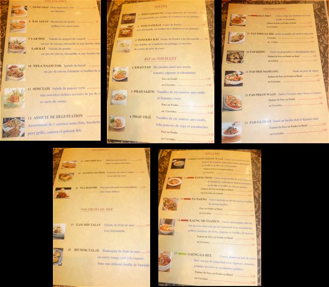 image carte Restaurant Thailandais Narai Thai à Toulouse
