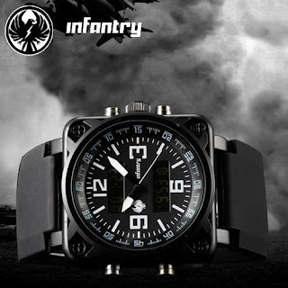 INFANTRY SDU Mens Sport LCD Chronograph Digital Army Quartz Watch Black Rubber
