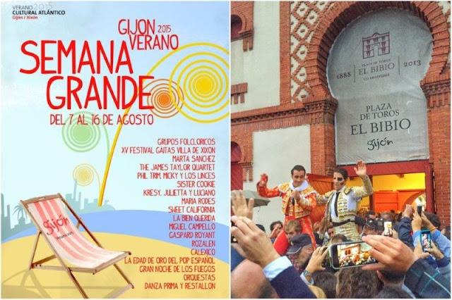 Cartel Semana Grande de Gijon 2015 – Salida puerta grande  de Juan Jose Padilla y El Fandi en la plaza de toros El Bibio