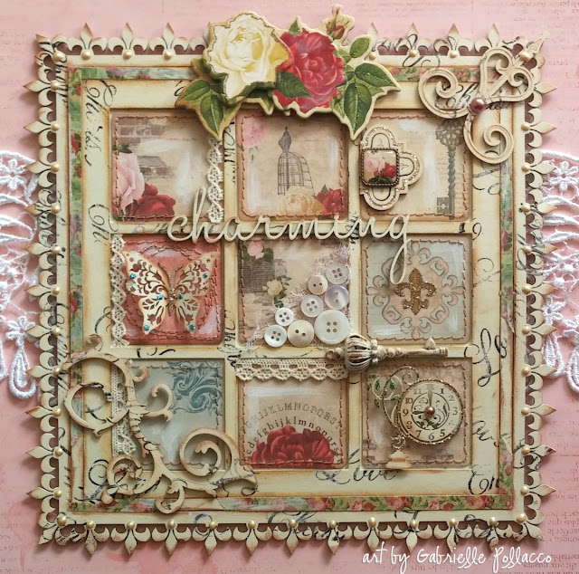 Wall art by Gabrielle Pollacco using Bo Bunny's Juliet collection and mixed media products