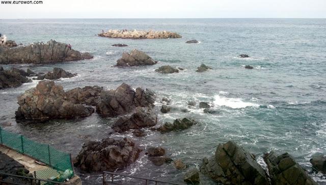Mar del Este visto desde la ventana de un restaurante coreano