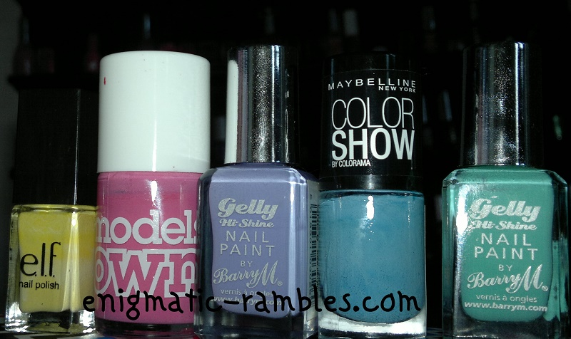 spring-2014-nail-polish-varnish-elf-eye-lips-face-yellow-models-own-pink-blush-barry-m-prickly-pear-greenberry-maybelline-cool-blue