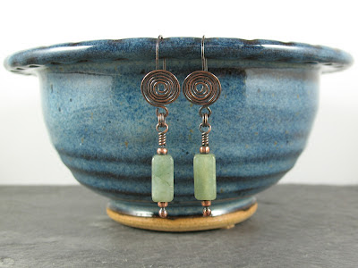 copper spiral &  Burmese jade earrings