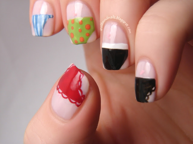 nails nailart nail art polish mani manicure Spellbound Lacquer ABC Challenge U is for Undies Underwear Underware Panties panty naughty sexy red blue white green orange black polka dot dots stripe stripes lace lacy sporty fun thong