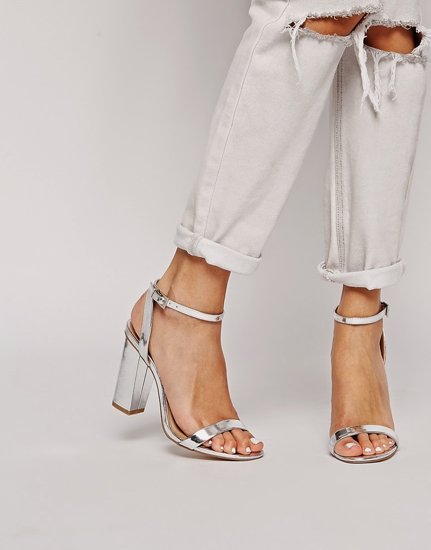 asos silver shoes, asos silver strappy heels,