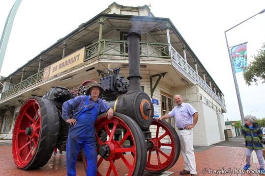 L-R: Wayne Clark, Havelock North, current owner of this traction engine; Hastings District Cr Kevin Watkins, Hastings, whose grandfather used to own it, pictured outside the equally historic Albert Hotel, Karamu Rd, Hastings, which is set to be demolished this week. photograph