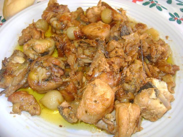 Pollo A La Sidra Con Cebollitas Confitadas
