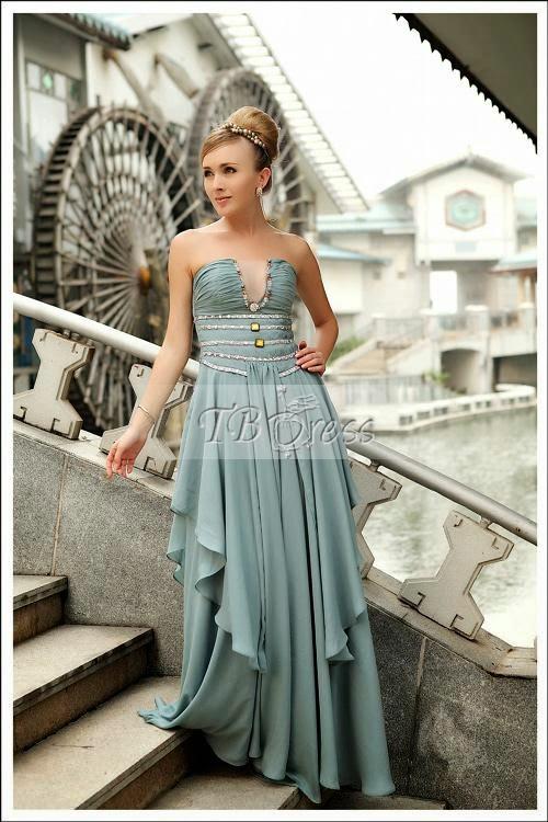 A-Line Strapless Floor-length Beading Prom Dresses
