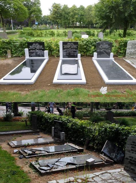 grafstenen putten, omvergereden grafstenen