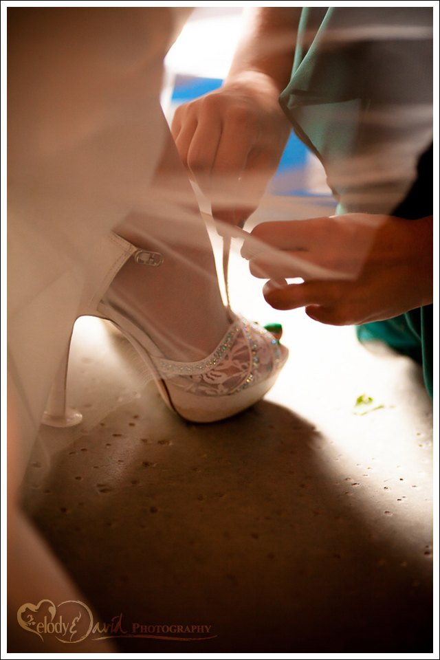 Detail shot of wedding shoes