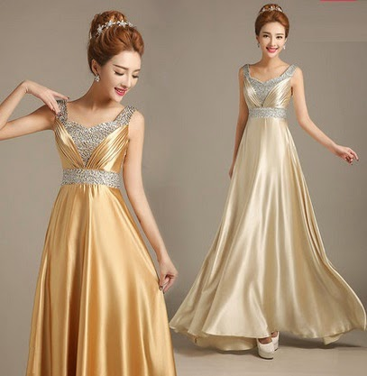Sequin V-Collar Gold/Champagne Satin Evening Cocktail Dress