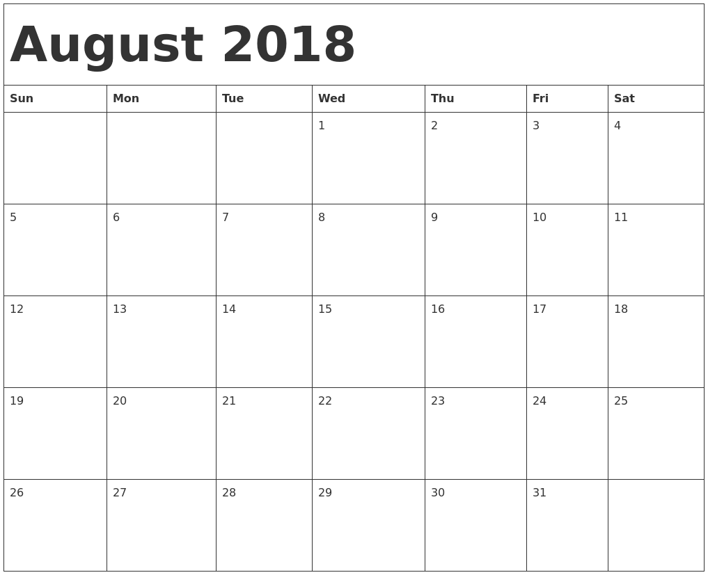 Free August 2018 Blank Calendar Printable Templates Blank Calendar