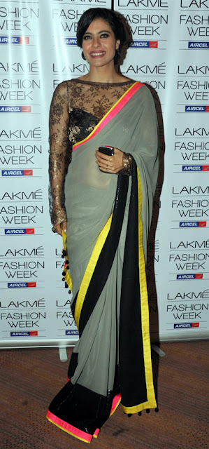Bollywood Kajol Grey Saree Replica Sarees online shopping - Bollywood Replica Sarees wholesale