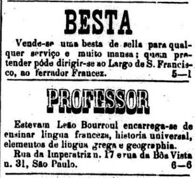 Anúncios classificados de 1875, onde são oferecidos um cavalo para atividades domésticas e serviços de ensino de um professor.