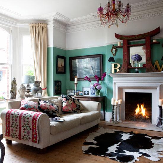 Ali couro de vaca na decora o for Quirky living room ideas