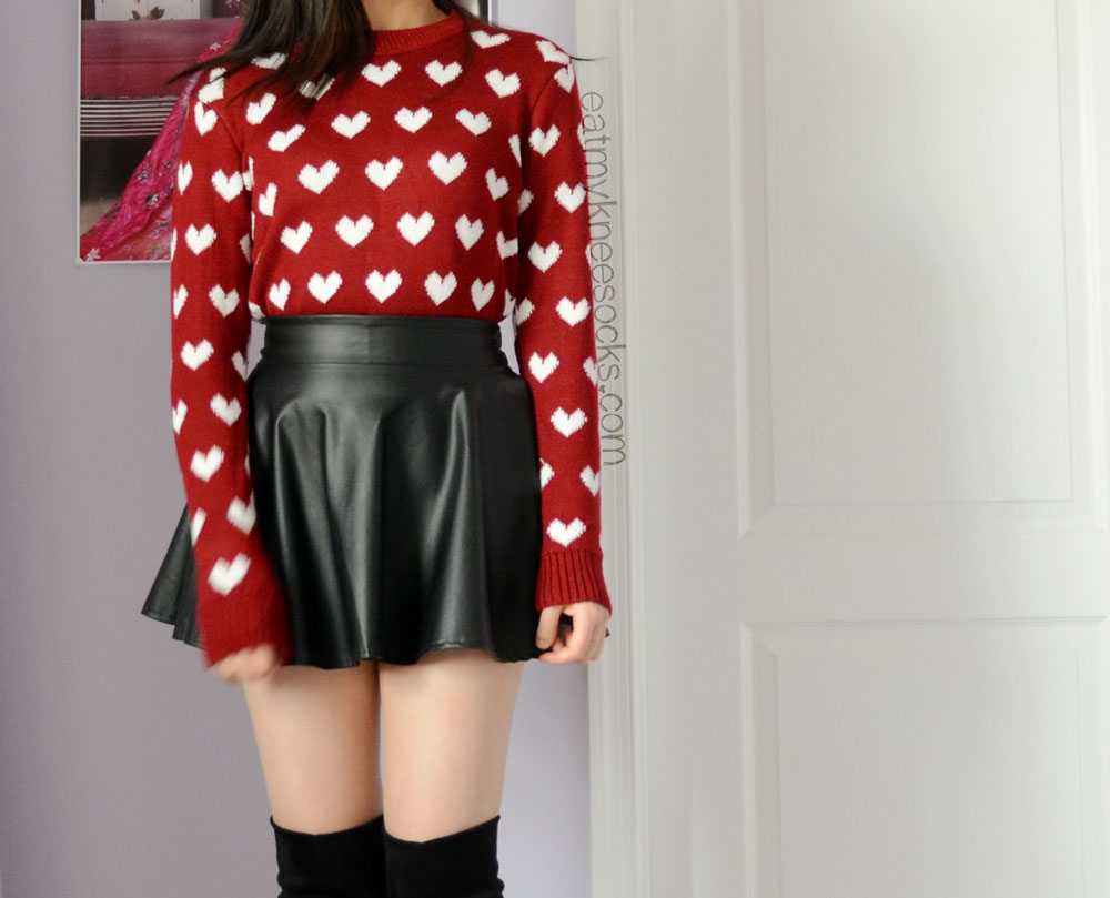 Ulzzang-style OOTD featuring the Sweetbox Store wine red heart sweater, leather skater skirt, and knee boots.