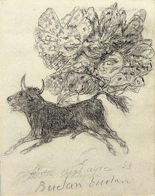 El toro mariposa de Francisco de Goya, dibujo sobre papel, 19 × 15 cm