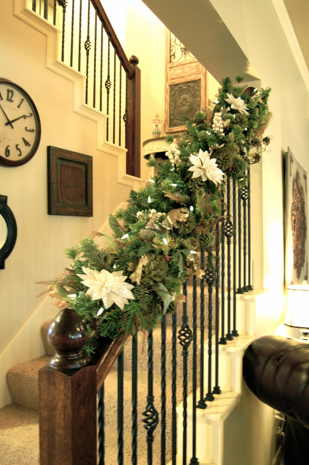 Jillify it christmas home tour for Stair railing decorated for christmas