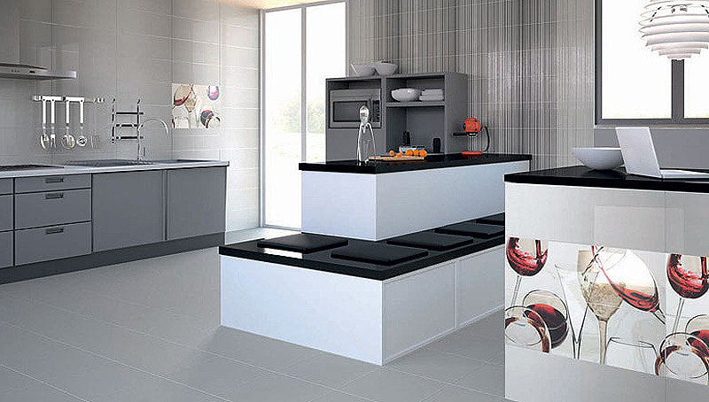 La madera la piedra el metal y el cemento se hacen for Losetas para cocina modernas