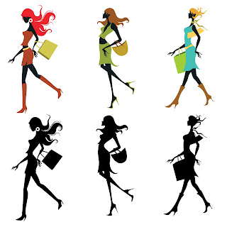 Free 6 SVG Digi Stamps Clip Arts Silhouette Girls