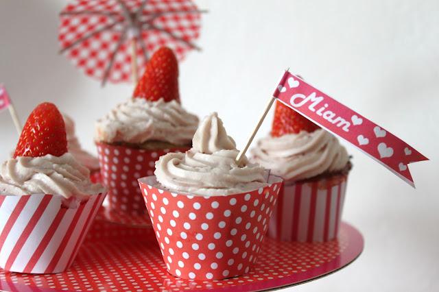muffin crème et fraise, wrapper