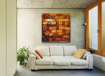 brown, cream, green, earthy, rusty, wall art, contemporary