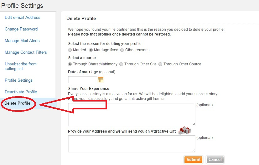 how to remove account from shaadi com